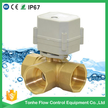 "3 way 1 1/4"" DN32 brass horizontal motorised ball valve motorized valve"