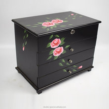 Hand drawing flower wood jewelry box,jewellery cabinet with mirror and drawers