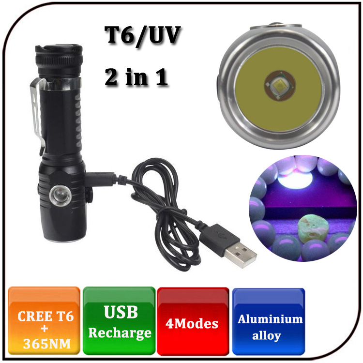 Portable Aluminium 1000lumen USB Rechargeable 365nm UV led T6 2 in 1 Torch Flashlight with hook