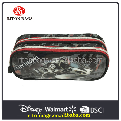 Cool motorcycle design pencil case with 2- zippered
