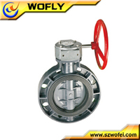 center line PVC worm gear operated butterfly valve