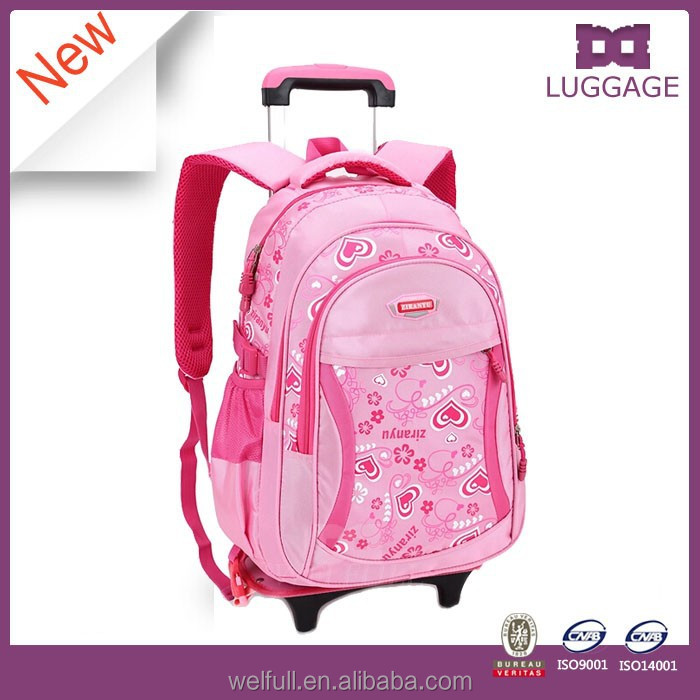 2017 New Style Light Pink Wheeled School Backpack For Primary School