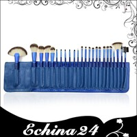 High Quality Blue PU Leather Packing Cosmetic Make Up Brush Tools Kit 24PCS Professional Makeup Brushes