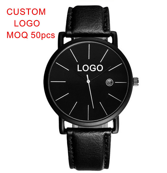 OEM All Balck Alloy Leather Simple Men Watch Quartz Japan Movement Waterproof Life Custom Your Logo Wristwatch