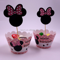 Happy Birthday event party supplies paper cup cake tools Cupcake Wrapper and Topper