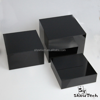 Elegant look 3 pieces square black acrylic store display rack ST-ACCUBEPSB-02