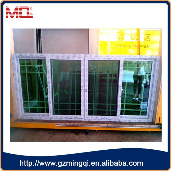 French style pvc green glass window tint with screen , window grill design