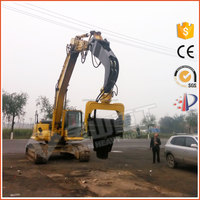 Excavator mounted hydraulic pile driver hammer for concrete piles