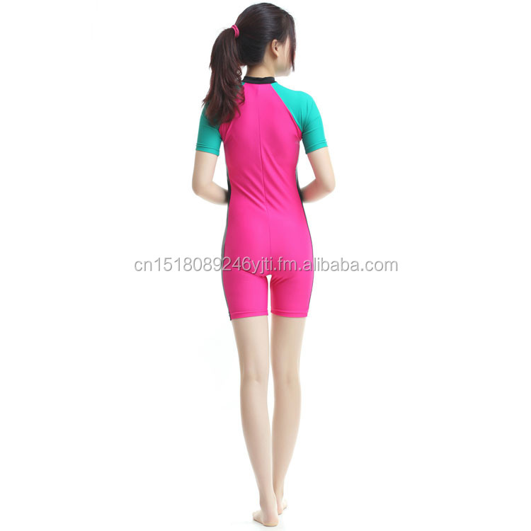 pink blue one piece swim wear short leg sleeve UPF50+high quality dive suits surfing suits (7).jpg