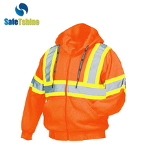 ANSI Approved fluo-orange cheap reflective fleece jacket/ hoodie