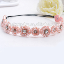 Hot sale new style vintage boho pink beads round rhinestone center elastic handmade hair band headband hair accessories