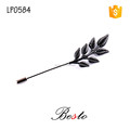 Decorative antique long stick leaf metal lapel pin with various colors