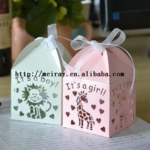 Laser cut paper kids theme birthday party decorations, baby favors boxes for baby shower party