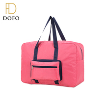 OEM custom portable durable polyester foldable duffel bag rose red clothes travel storage bag