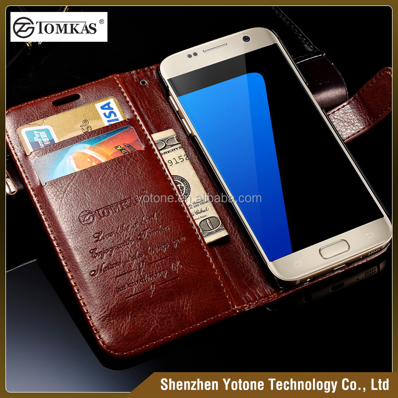2016 Wholesale Premium Pu Leather Mobile Phone Flip Cover Case / Card Slots Flip Case for Samsung Galaxy S7 S7 edge