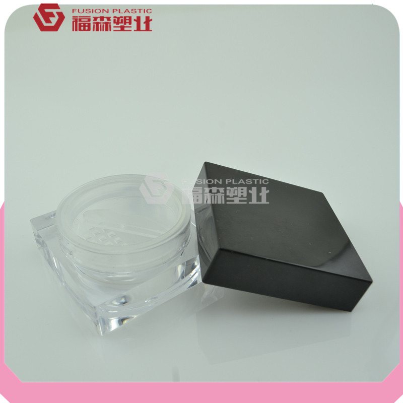 factory manufacture clear square cosmetic loose powder jar with sifter