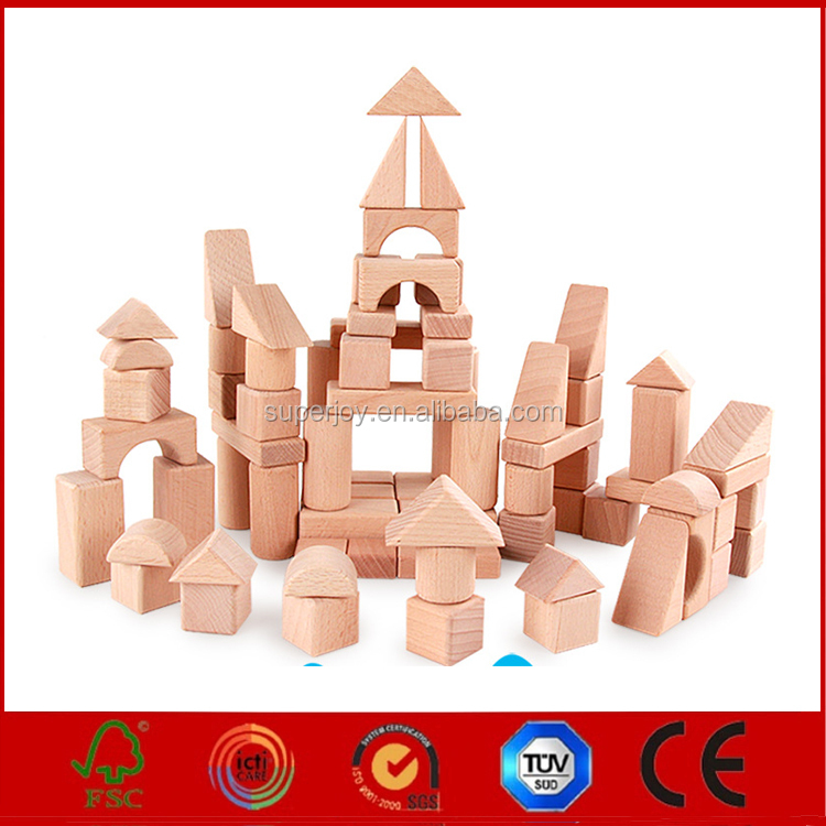 Wooden educational building block toy