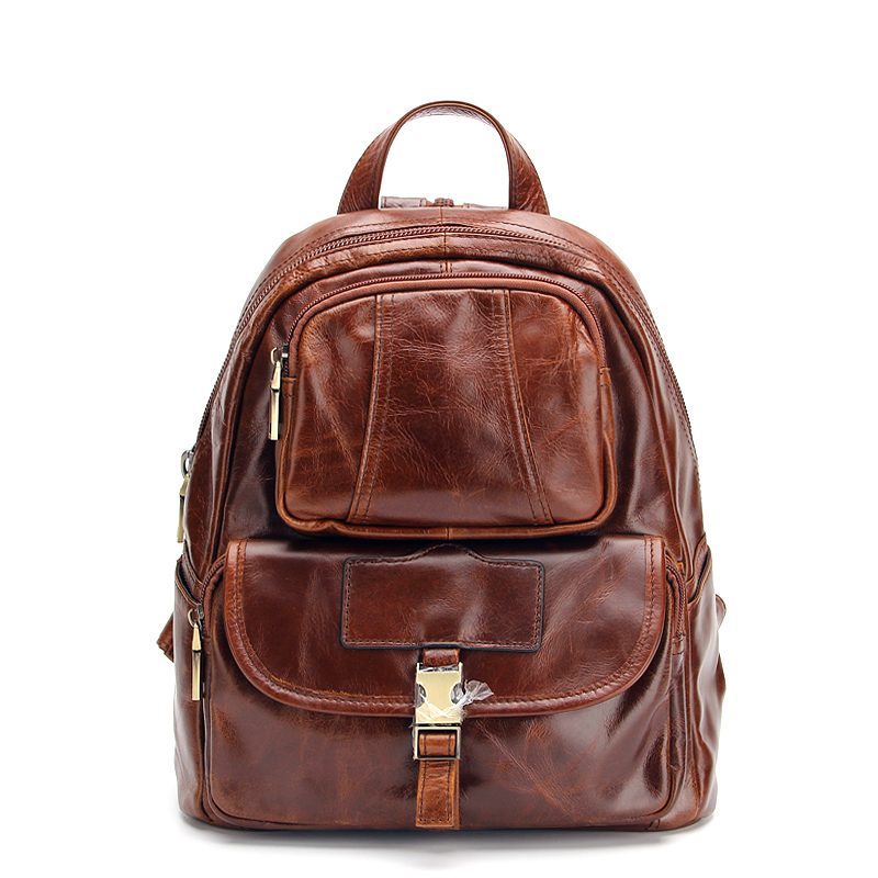 Mens Genuine Leather Coffee Fanny trip leather school day backpack