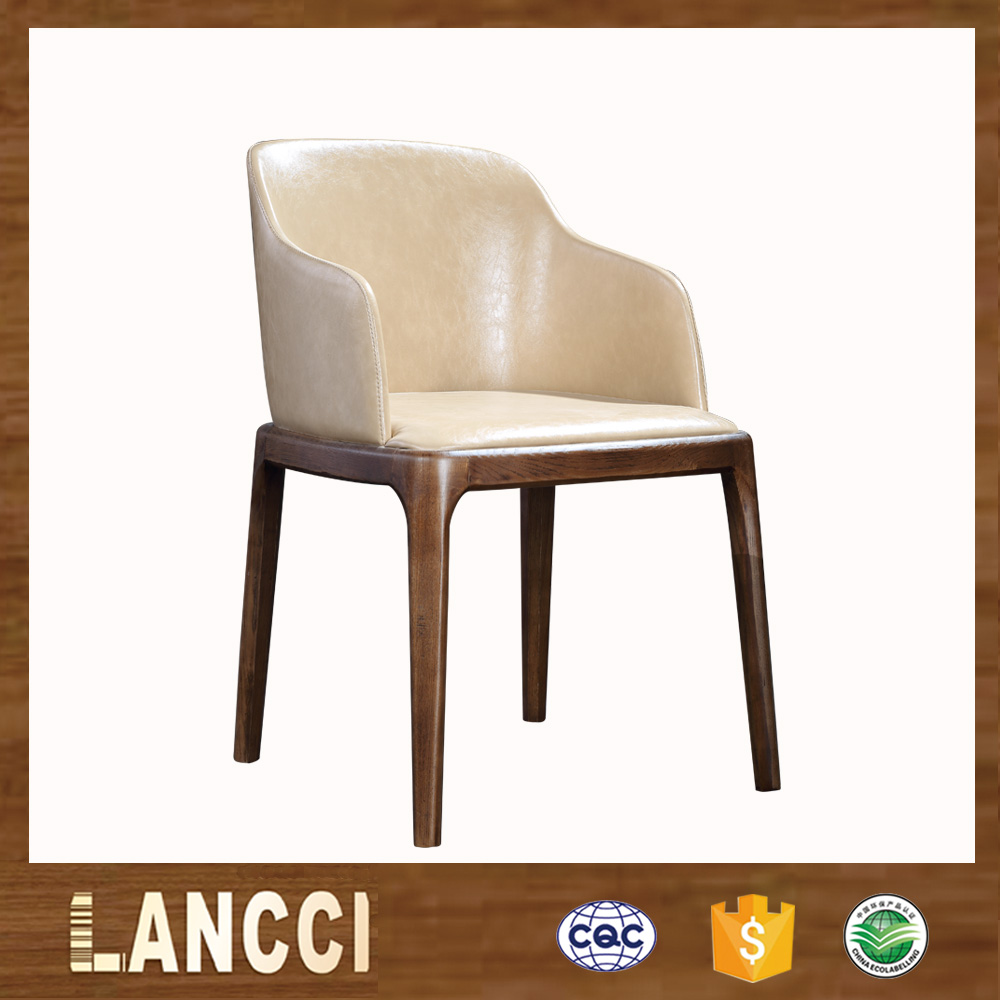 Classical design genuine leather solid wooden dining chairs with arm