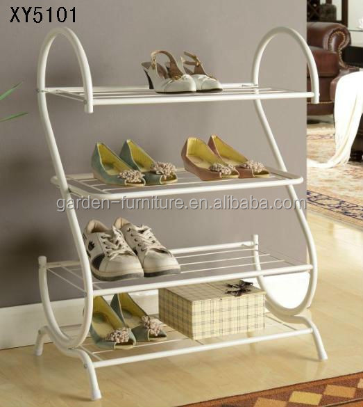 XY5101 Morden style home organizer metal shoe rack 4 tier free standing display shelf wholesale