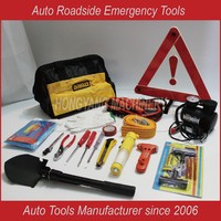 17 Pc Roadside Car Emergency Tool Kit Jumper Cables Tire Pressure Gauge Gloves