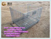 collapsible wire mesh container/rolling metal storage cage for warehouse heavy duty storage