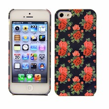 new!deluxe beautiful decorative rose water print pc cell phone case for iphone5