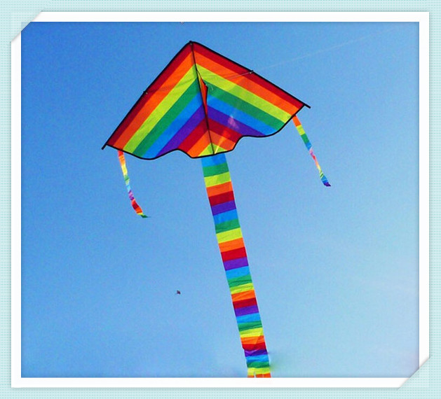 Rainbow Kite Without Flying Tools Outdoor Fun Sports Kite Factory Children Triangle Color Kite Easy Fly