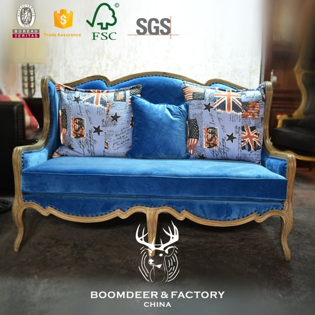 Good quality modern America two seats wood frame chesterfield sofa with cushion