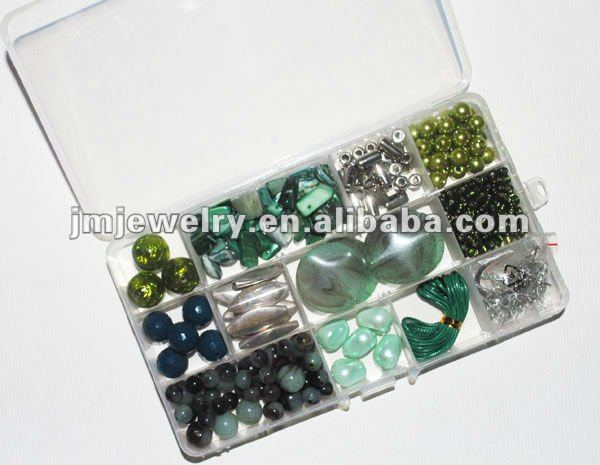 2015 New Fashion Dark Green Color Varying Size Acrylic and Plastic Beads for DIY Kit Necklace and Bracelet for Teenagers