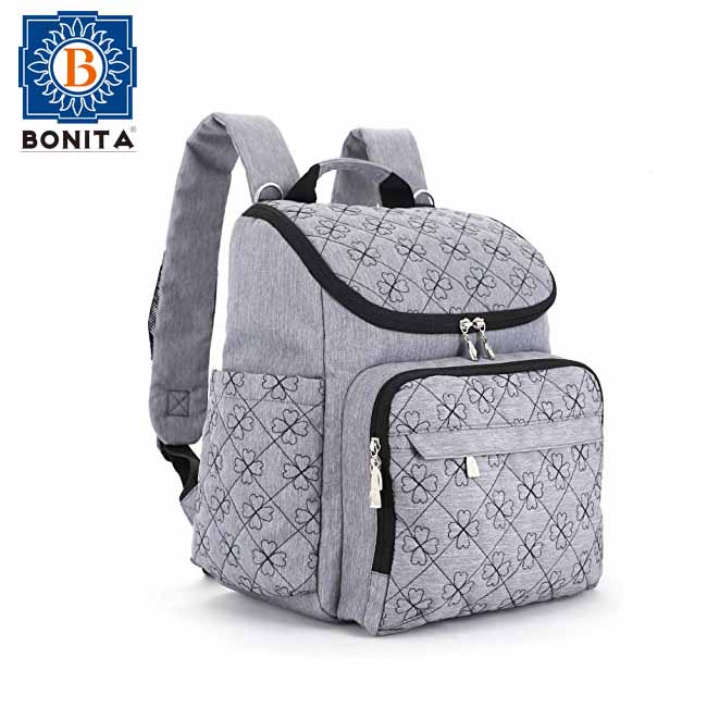2017 Stylish New Waterproof Embroidery Travel Designer And Organizer Diaper Bag Backpack With Baby Stroller Straps