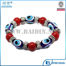2014 new fashion cheap diy colorful beads evil eye magnetic bracelet factory wholesale