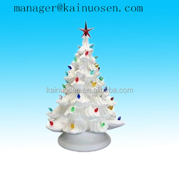 Diy decorative white ceramic christmas tree with light