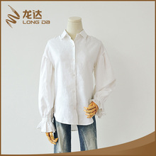 Longda Hot sale eco-friendly long sleeve mixed linen latest styles lady blouse
