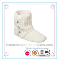 high quality thick cable sweater knit women adult knitted booties