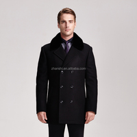 OEM Service Outwear Double-breasted Men's Wool Cashmere Pea coats With Fur Collar