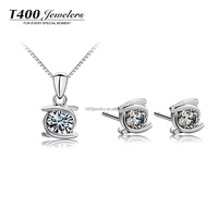 T400 brand Zirconia Jewelry,925 sterling Silver stud Earrings & Pendant Necklace set for Wholesale #S012