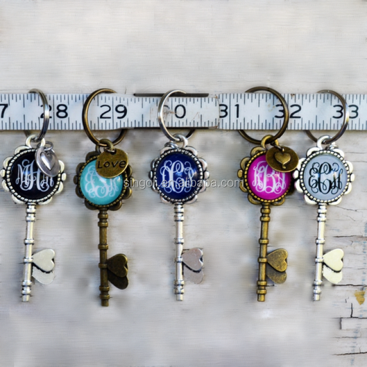 Antique Silver Enamel Monogram Key Chains with Love Charm