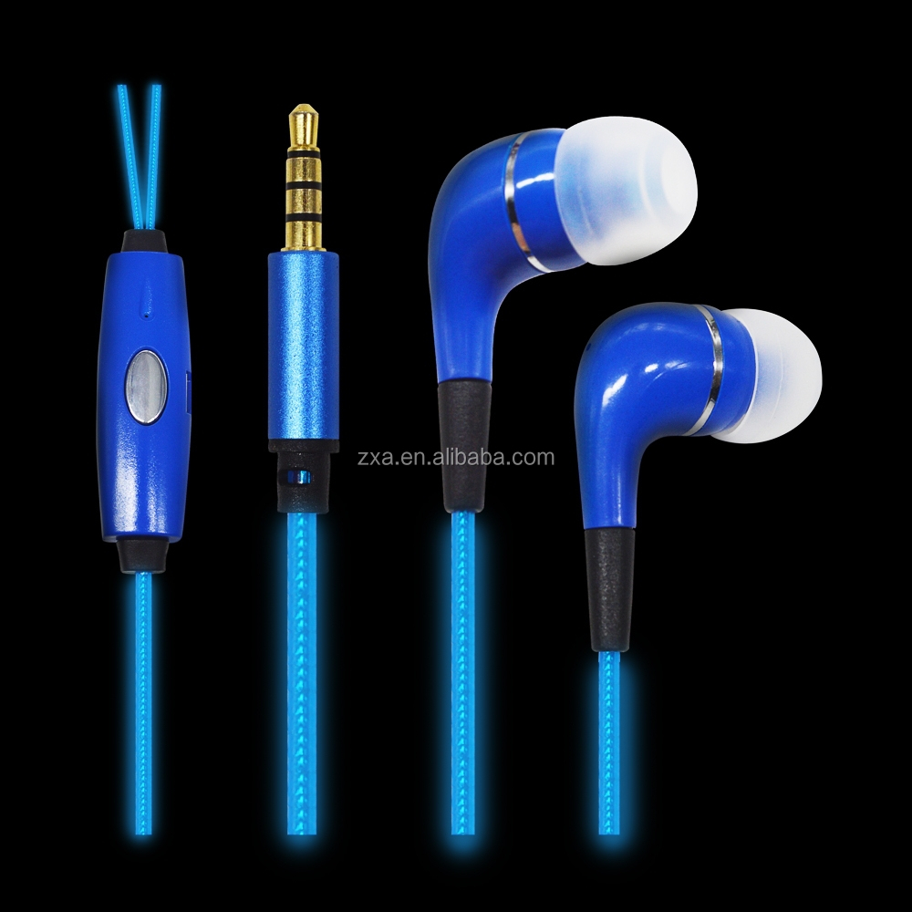 Factory supply EL glowing earphone with mini jack micophone