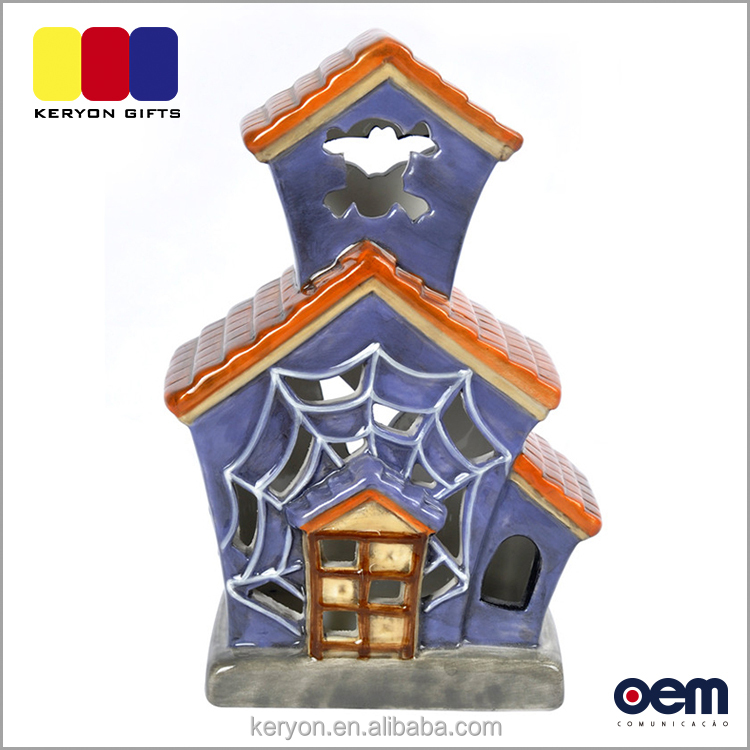 Newest Home Decoration House Shaped Light Halloween Decorative Ceramic