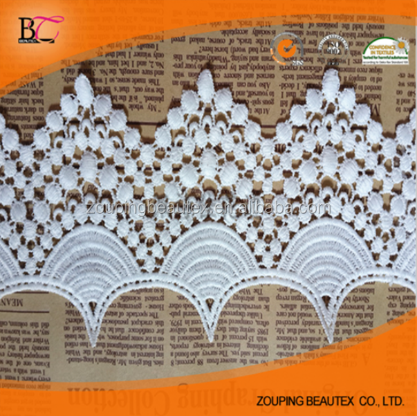 100% cotton white water soluble lace trim /ivory scalloped /border lace trim for baby clothing decoration.