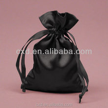 Promotional 100 silk drawstring bags for hair/satin pouch bag for wig/black satin bag pouch for wig