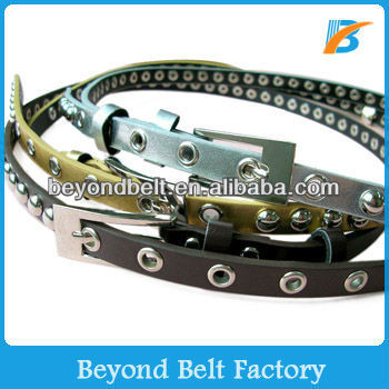 Women's Casual One Row Grommet Studded Thin Fake Leather Belt