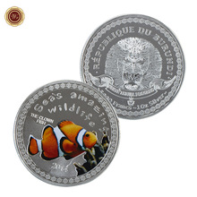 WR Souvenir Coin Clownfish Fish Metal Coins Replica Collection Colorful Coin for Wholesales