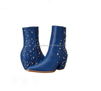 2015 Newest product women ankle boots kitten heel leather with star ankle boots blue