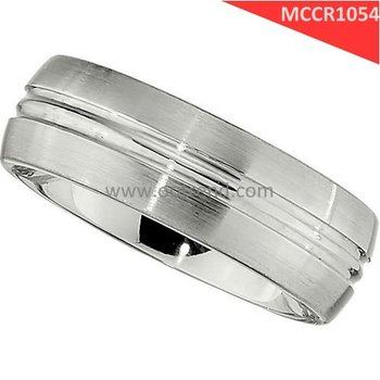 Double Grooving timeless width 8mm cobalt chrome ring with satin matte surface