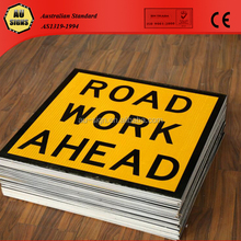 ROAD WORK AHEAD 600x600 Class 1 corflute plastic warning sign board sheets