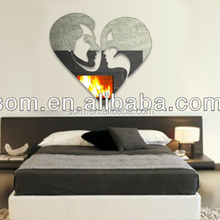 adhesive decor love shape mirror wall stickers