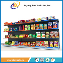 Metal Supermarket snacks display rack / food bread shelf / stationery show display stand