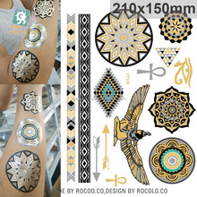 Customs new egypt symbols gold foil metallic temporary tattoo
